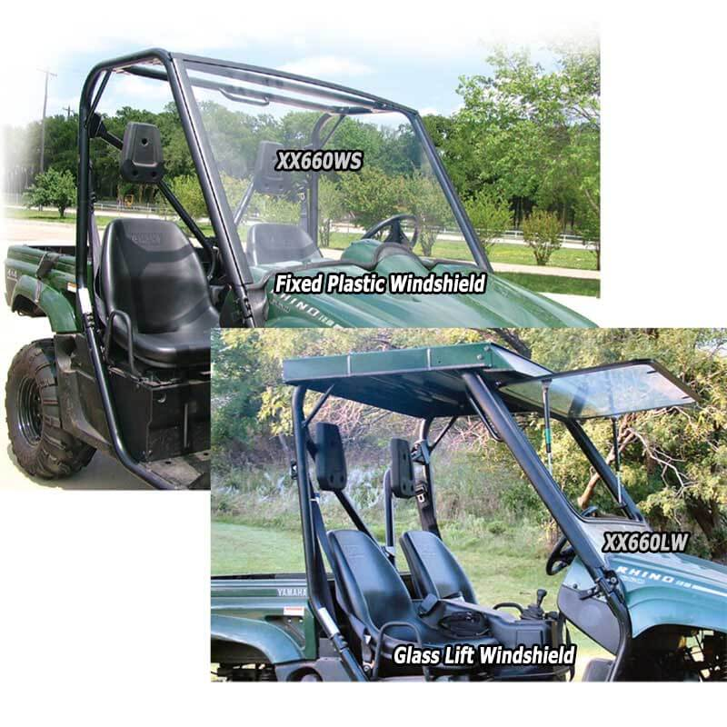 Yamaha Rhino Snap-on plastic winshield vs Glass Lift Winshield !